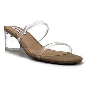 Steve Madden Issy Clear Block Heel Slide Sandal